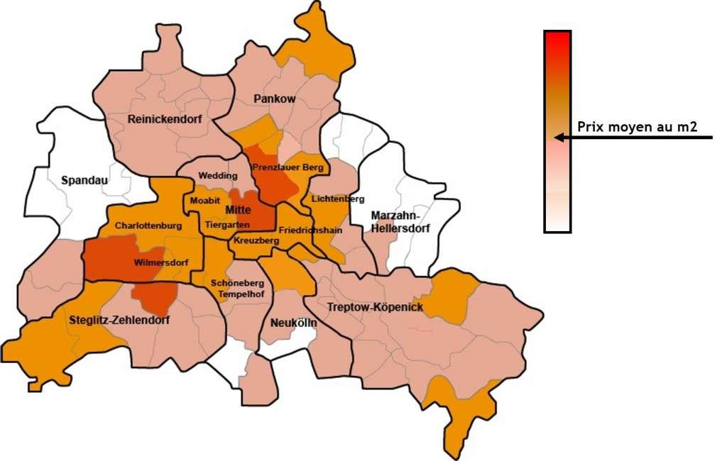 Carte des prix immobiliers à Berlin