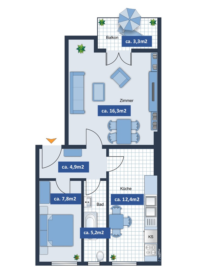 Bright 1,5 rooms apartment with a balcony next to ...